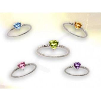 Bague or diamant et pierre fine