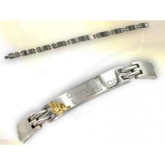 Bracelet maçonnique acier et or
