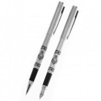 Parure stylo plume et roller maçonnique
