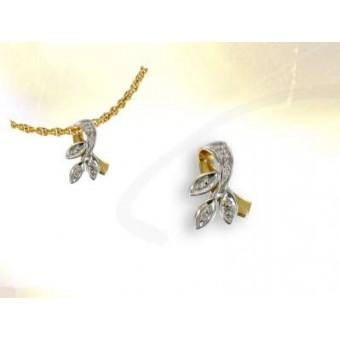 Pendentif acacia or et diamants
