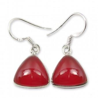 Boucles d'oreilles agate rouge triangle