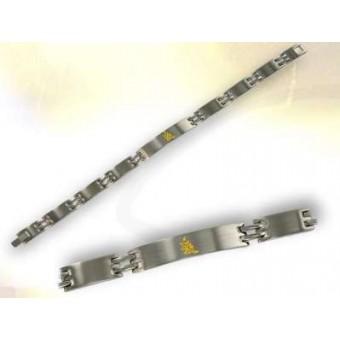 Gold and steel masonic bracelet