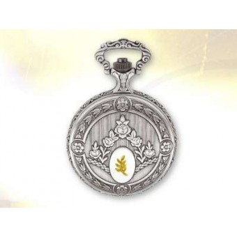 Pocket watch with gold acacia sprig
