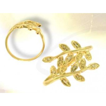 Gold Acacia ring with diamonds