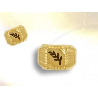Chevalière  plaqué or branche d' acacia