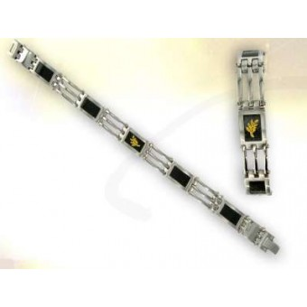 Steel with carbon and gold Masonic bracelet