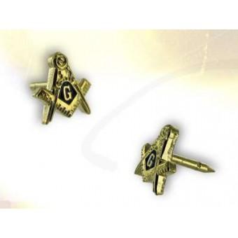 Gilded masonic lapel pin
