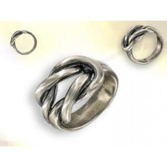 Silver lake of love knot ring