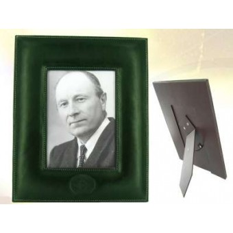 Green leather picture frame