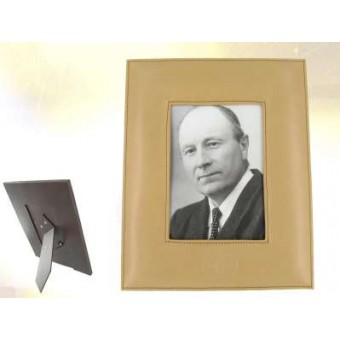 Beige leather picture frame